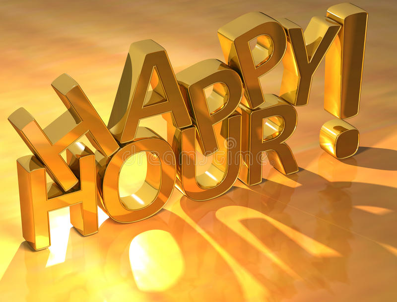 Happy hour gold text. Over yellow background vector illustration