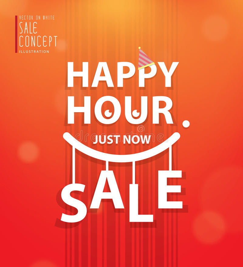 Happy hour heading design for banner or poster. Sale and discounts. Vector illustration vector illustration