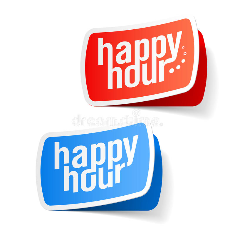Happy hour labels royalty free illustration