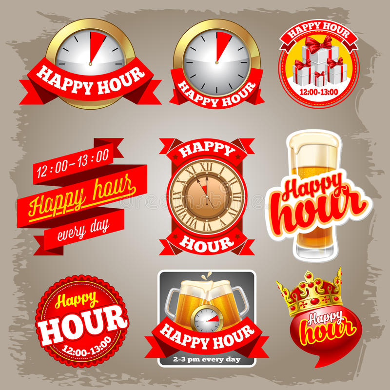 Happy hour labels vector illustration