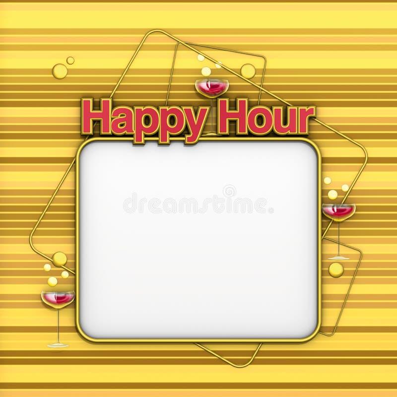Happy Hour menu gold stock illustration
