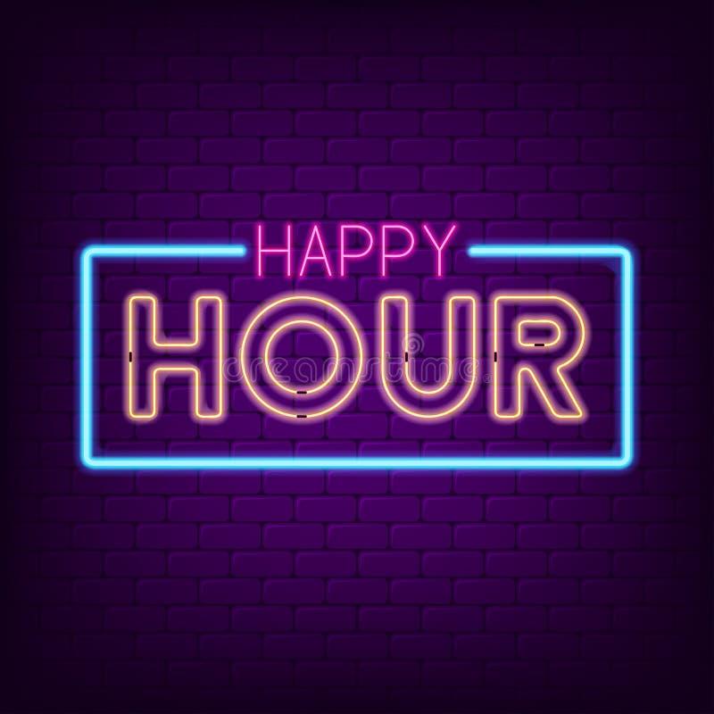 Happy hour neon sign. Night bright advertising neon signboard. Vector. stock illustration