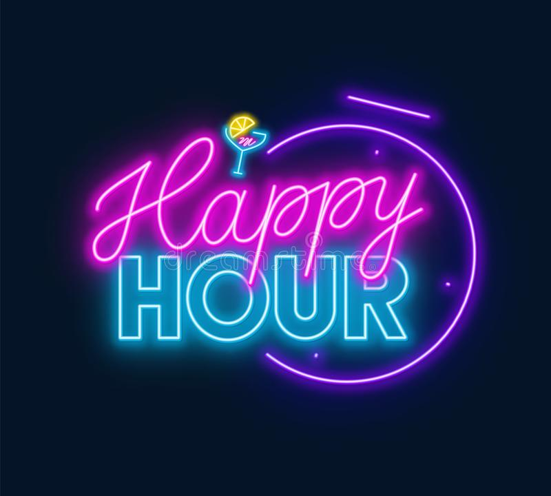 Free Happy Hour Neon Sign On Dark Background. Royalty Free Stock Images - 161672579