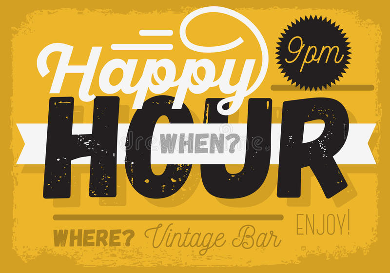 Happy hour Nuova progettazione d'annata del segno del titolo illustrazione di stock