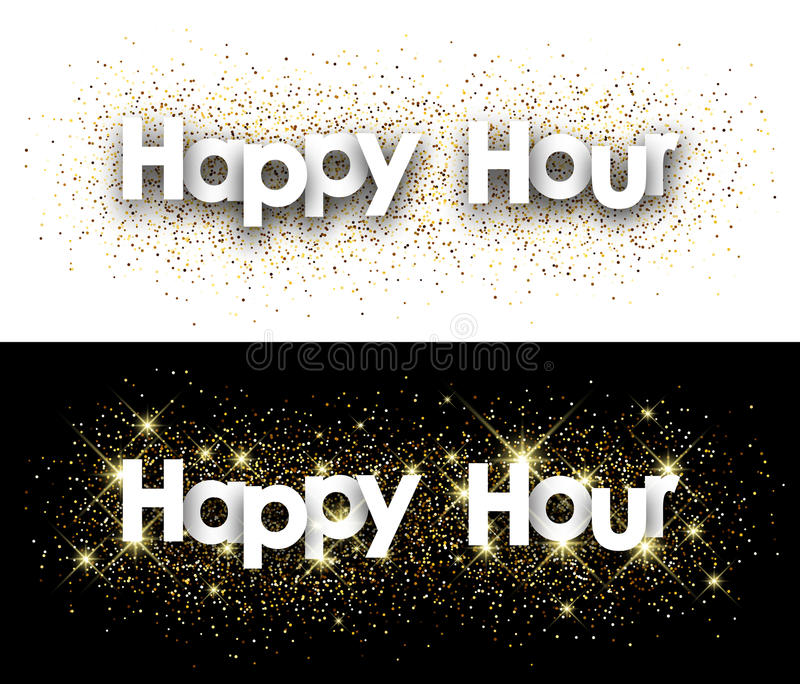 Happy hour paper banner. Happy hour paper banner with shining sand. Vector illustration stock illustration