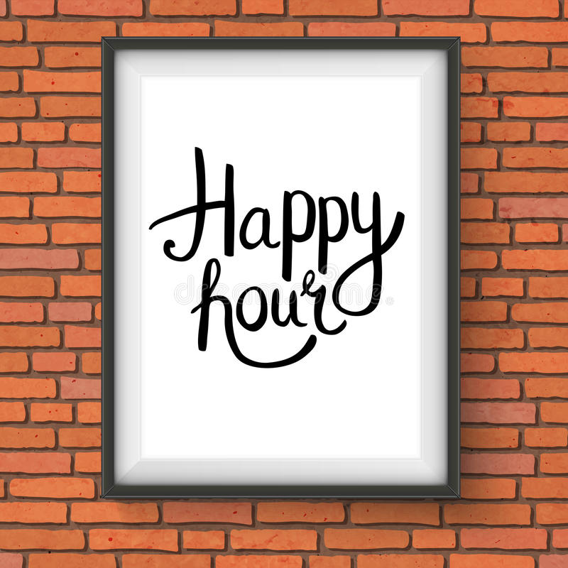 Happy Hour Phrase in a Frame Hanging on Brick Wall stock illustration