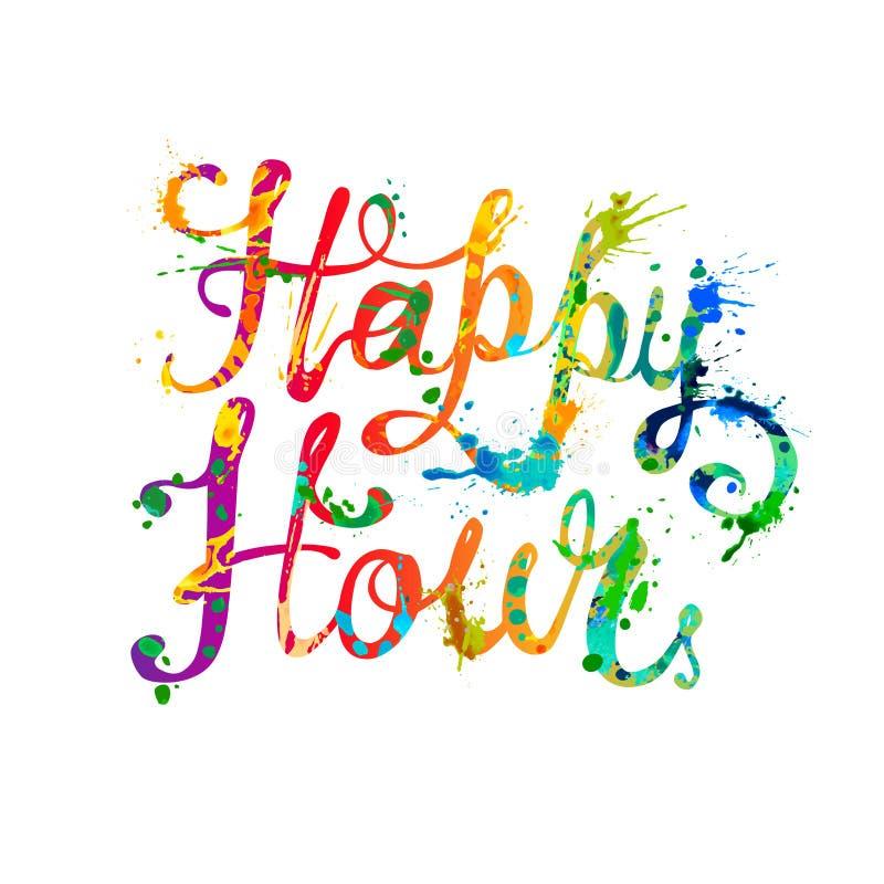 Happy hour Pittura della spruzzata illustrazione vettoriale