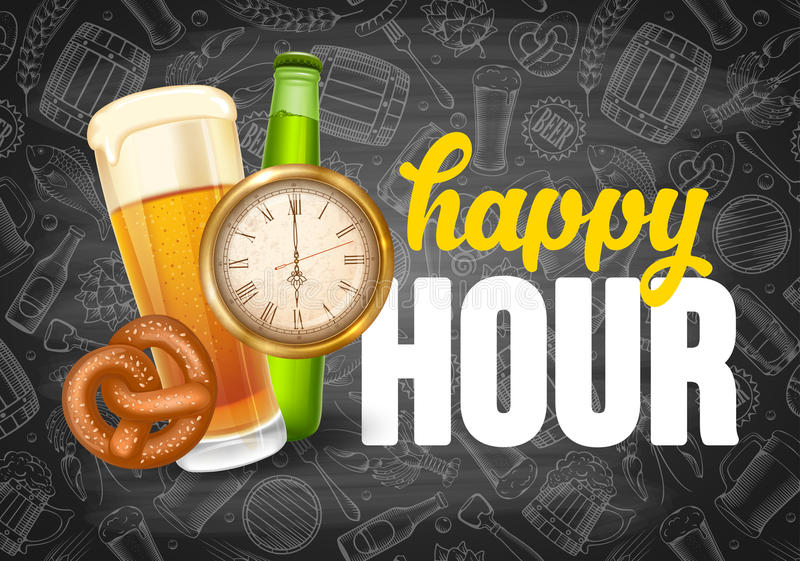 Happy Hour Poster Template stock illustration