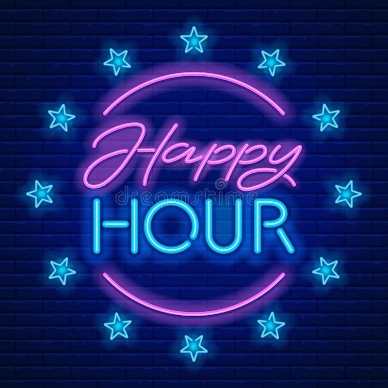 Happy Hour Neon Sign royalty free illustration