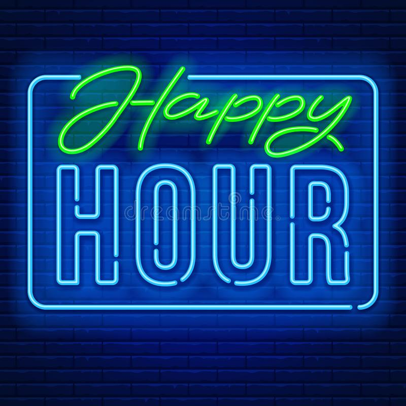 Happy Hour Neon Sign. Happy Hour. Realistic neon sign on brick wall background. Vector illustration vector illustration