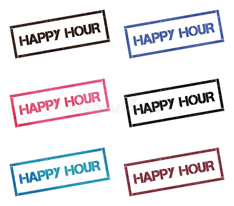 Happy hour rectangular stamp collection. royalty free illustration