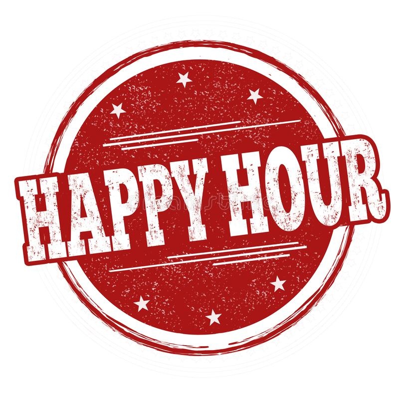 Happy hour sign or stamp royalty free illustration