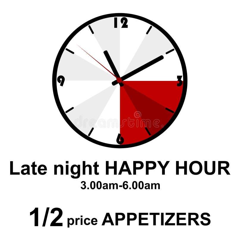 Happy hour a tarda notte per i pub illustrazione vettoriale