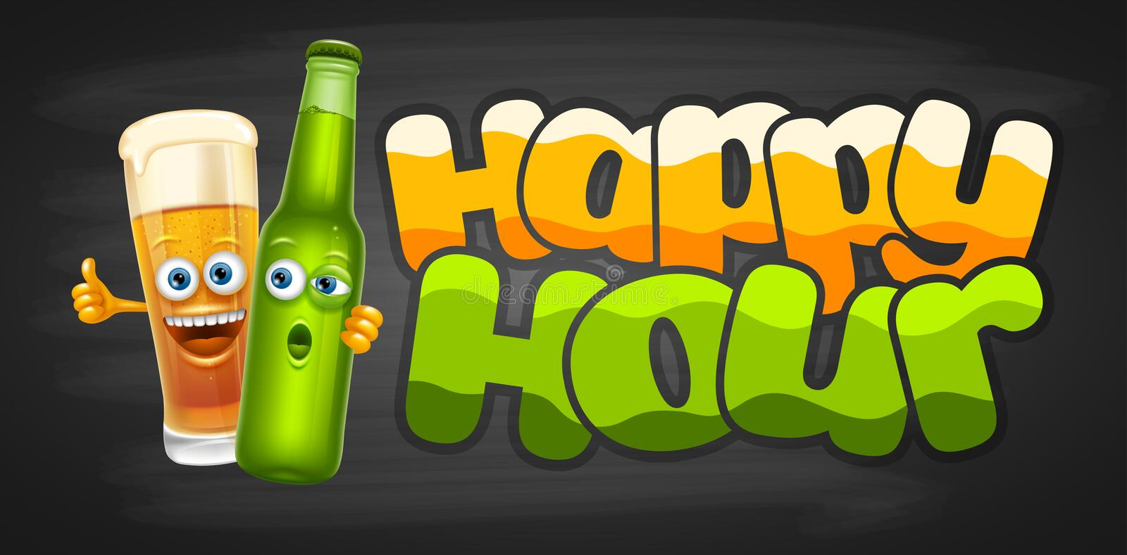 Happy Hour Design Template royalty free illustration