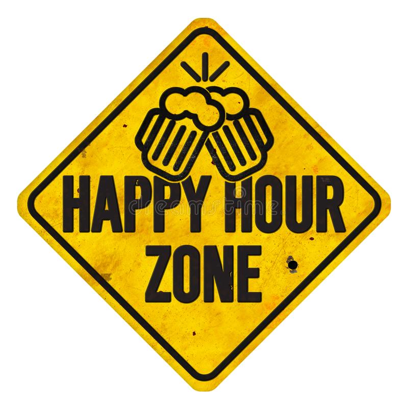 Happy Hour Zone Sign stock illustration