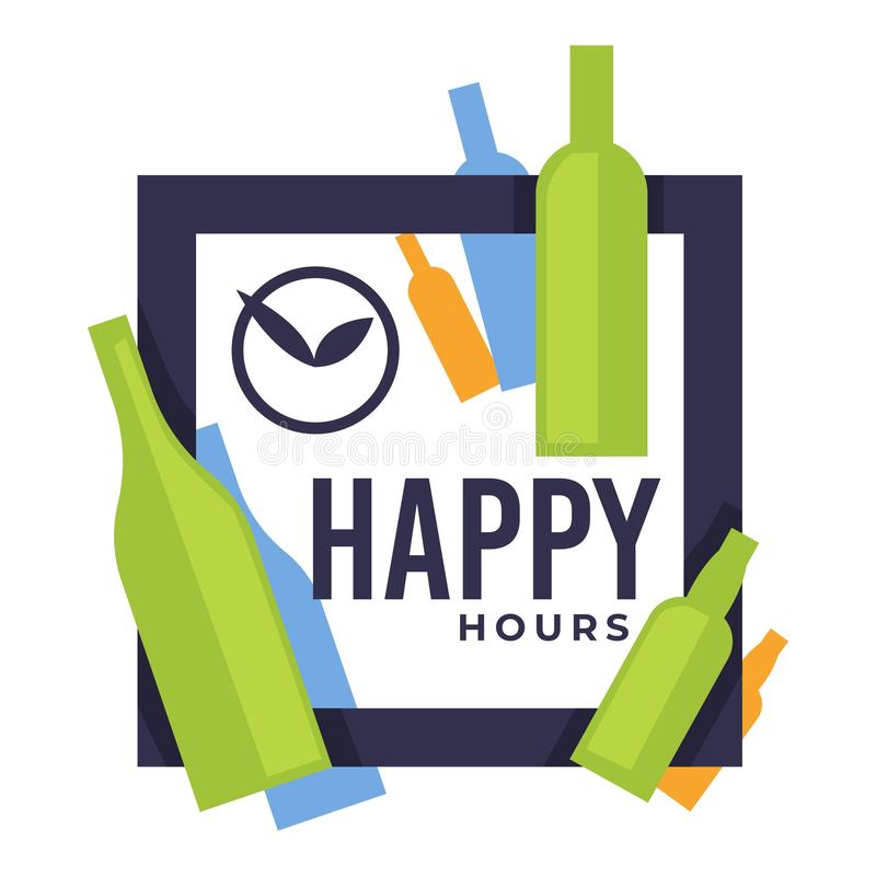 Happy hours in bar or pub isolated icon, craft beer in bottles stock illustration