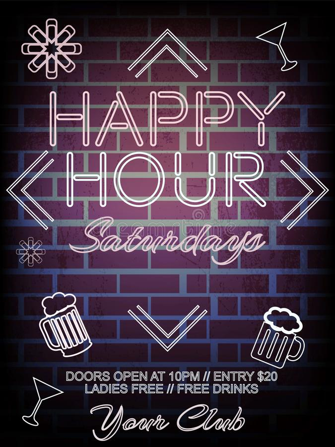 Happy Hours flyer, banner or template design with beer mug royalty free illustration