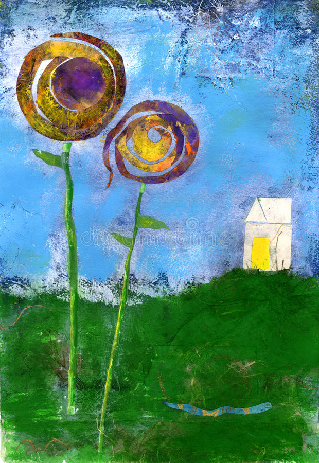 Happy House on the Hill. Happy Home on the hill with big flowers