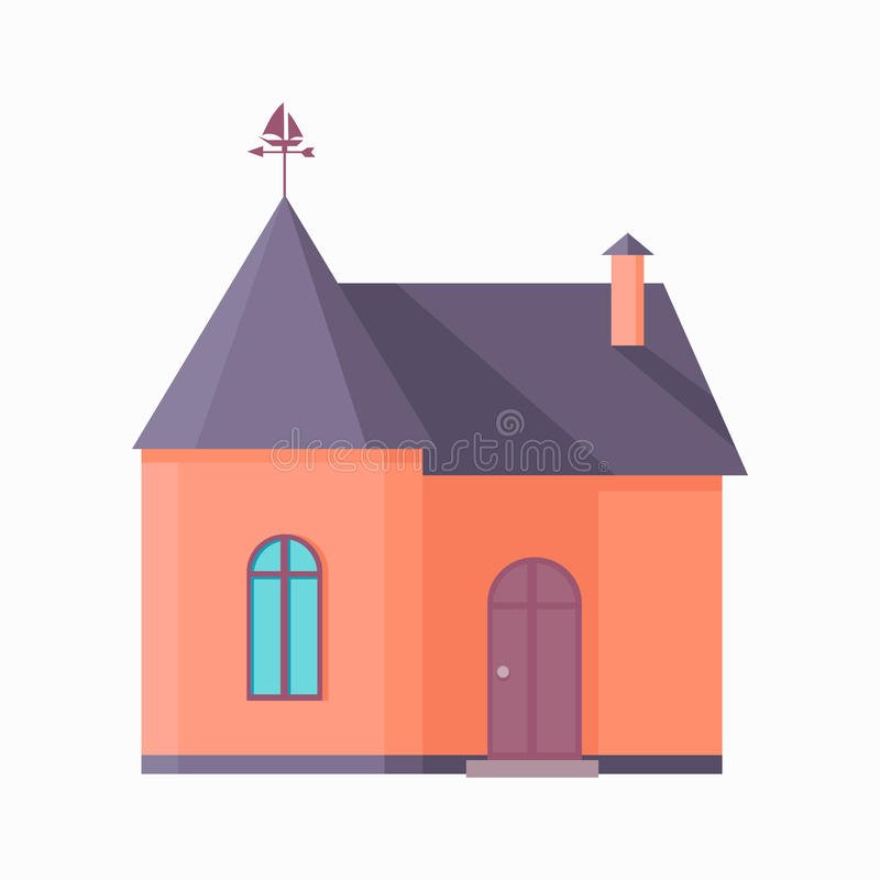 Happy House with Terrace Banner Poster Template. Happy red house banner poster template. Exterior home icon symbol. Residential cottage. Part of series of royalty free illustration