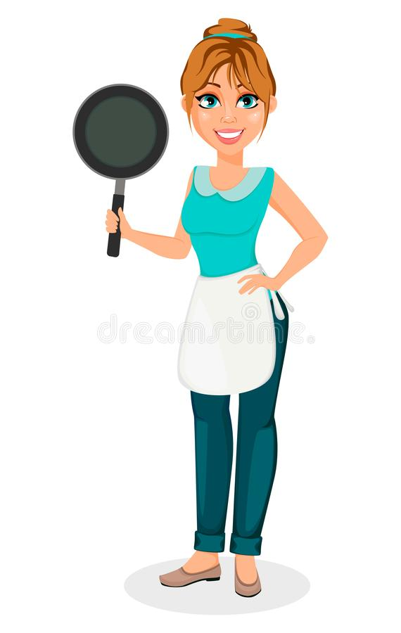 Happy housewife. Cheerful motherHappy housewife. Cheerful mother, beautiful woman. Happy housewife. Cheerful mother, beautiful woman. Cartoon character holds stock illustration
