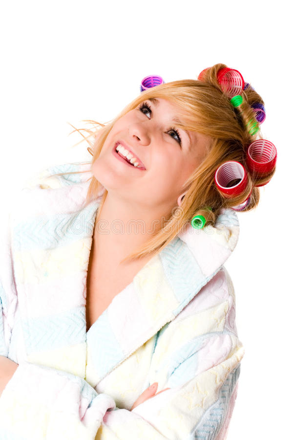 Download Happy Housewife With Curlers Stock Image - Image: 17353333