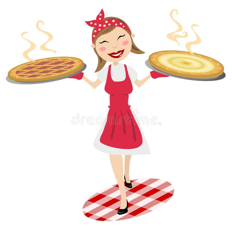 Download Happy Housewife Serving Homemade Cakes Stock Illustration - Illustration of chef, flour: 21670061