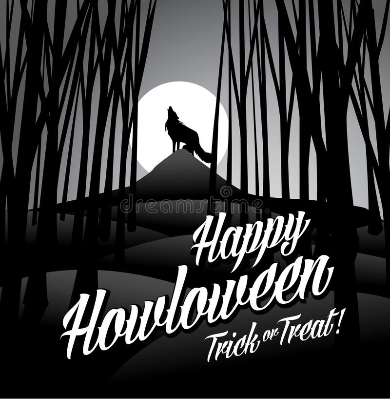Happy howloween howling wolf and full moon royalty free illustration