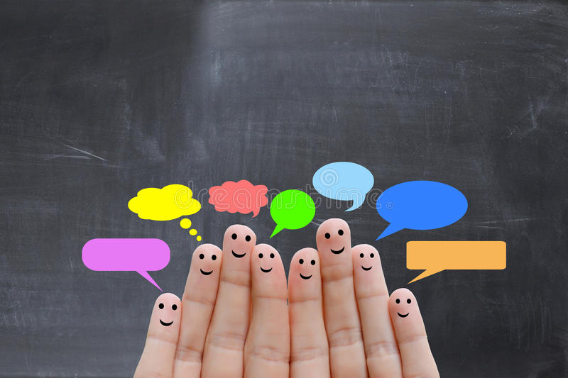 Happy human fingers suggesting feedback and communication concept royalty free stock image