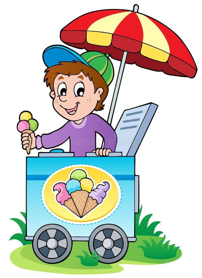 Happy Ice Cream Man Stock Photos