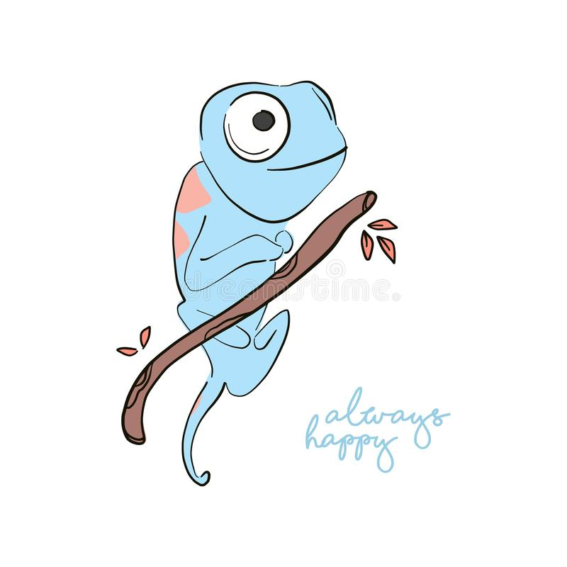 Always happy iguana print.  Hand-drawn lizard illustration, scandinavian style kids roon decor. Wildlife animals art vector illustration