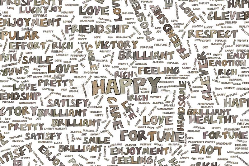Happy Illustrations Of Positive Emotion Word Cloud Words