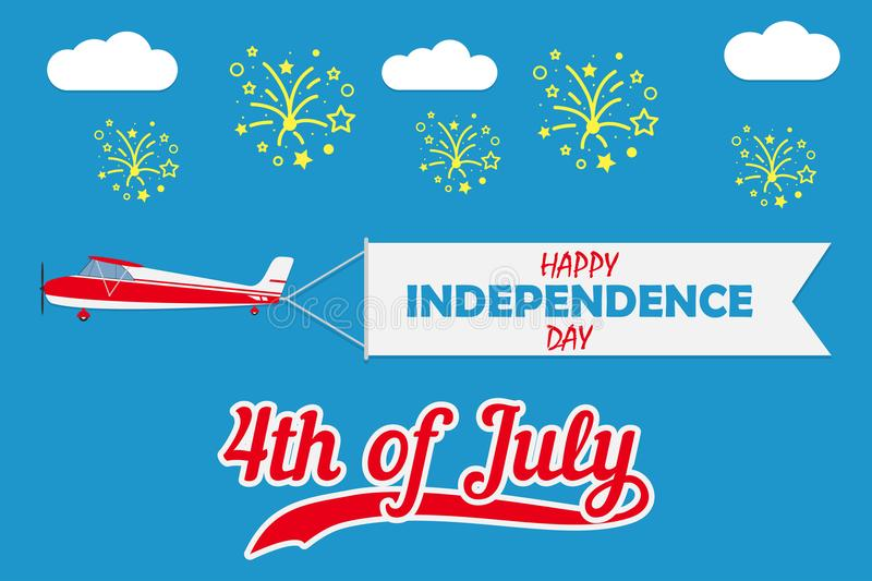 Happy Independence Day card with plane with flying banner and fireworks. United states of America celebrates - 4th of July. Vector stock illustration