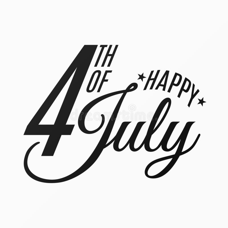 Happy Independence Day. Festive flat and black text banner on a white background. 4th of July. United States of America. Vector stock illustration