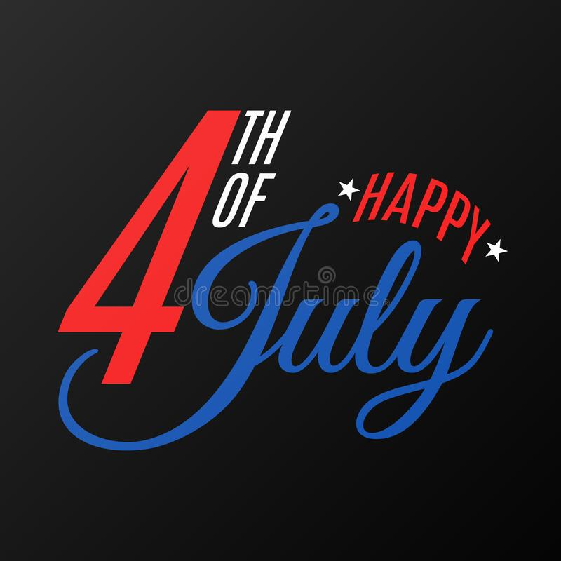 Happy Independence Day. Festive flat text banner on a black background. Gift card for 4th of July. United States of America. royalty free illustration