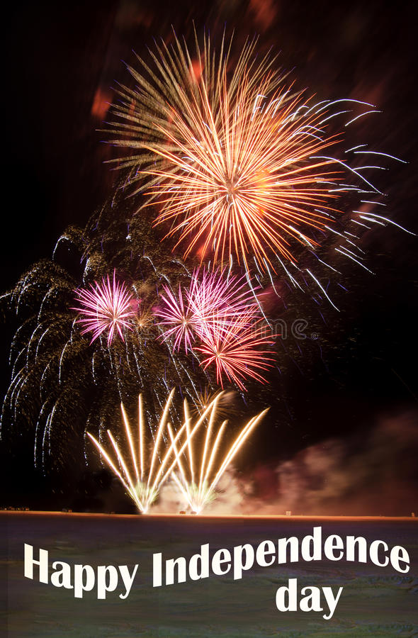 Happy Independence day with fireworks royalty free stock photos