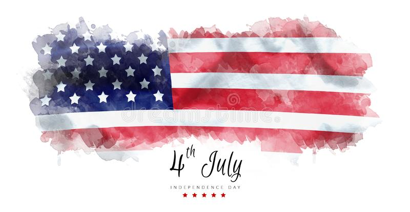 Happy Independence Day greeting card american flag grunge background.  royalty free illustration