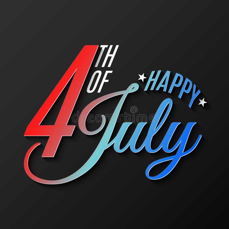 Happy Independence Day. Greeting card for 4th of July. Festive text banner on a black background. United States of America. Vector royalty free illustration