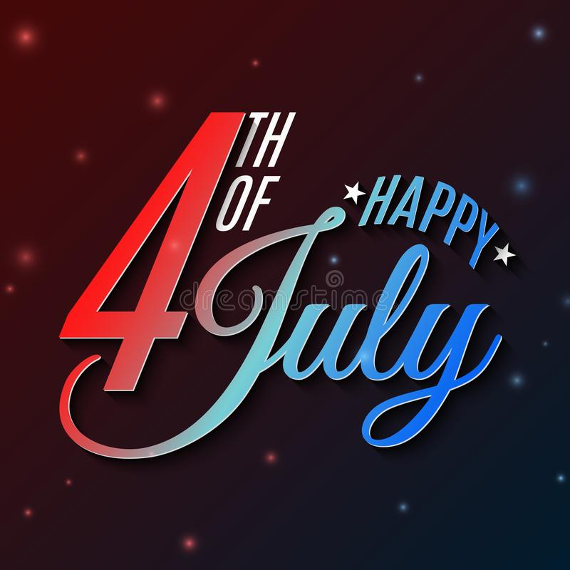 Happy Independence Day. Greeting card for 4th of July. Festive text banner. Glowing text banner. United States of America. Blue stock illustration