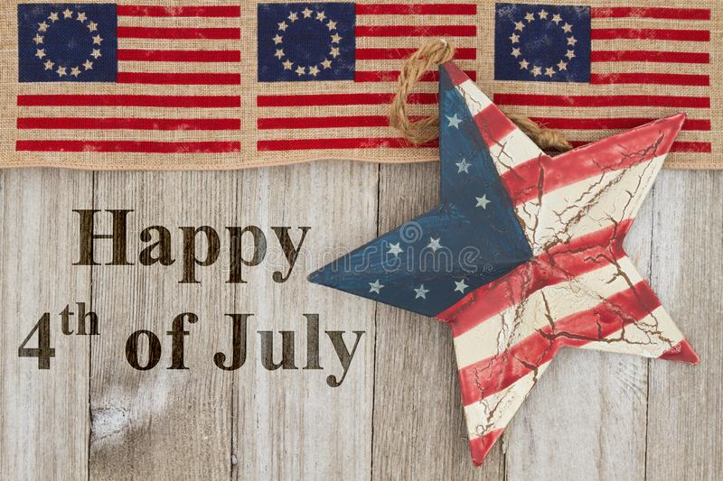 Happy Independence Day greeting 4th of July. Happy Independence Day greeting, USA patriotic old Betsy Ross flag, old star and weathered wood background with text royalty free stock image