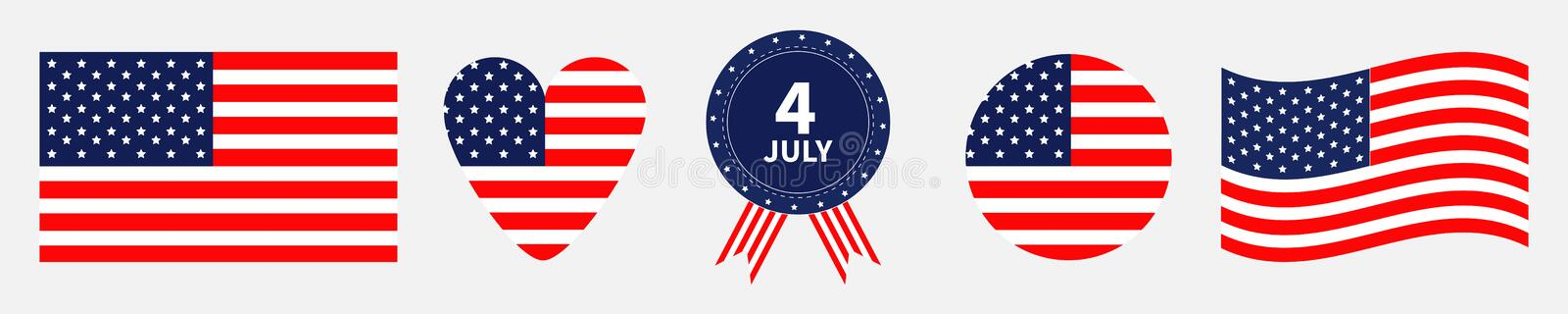 Happy independence day icon set line. United states of America. 4th of July. Waving american flag, heart, round shape, badge with stock illustration