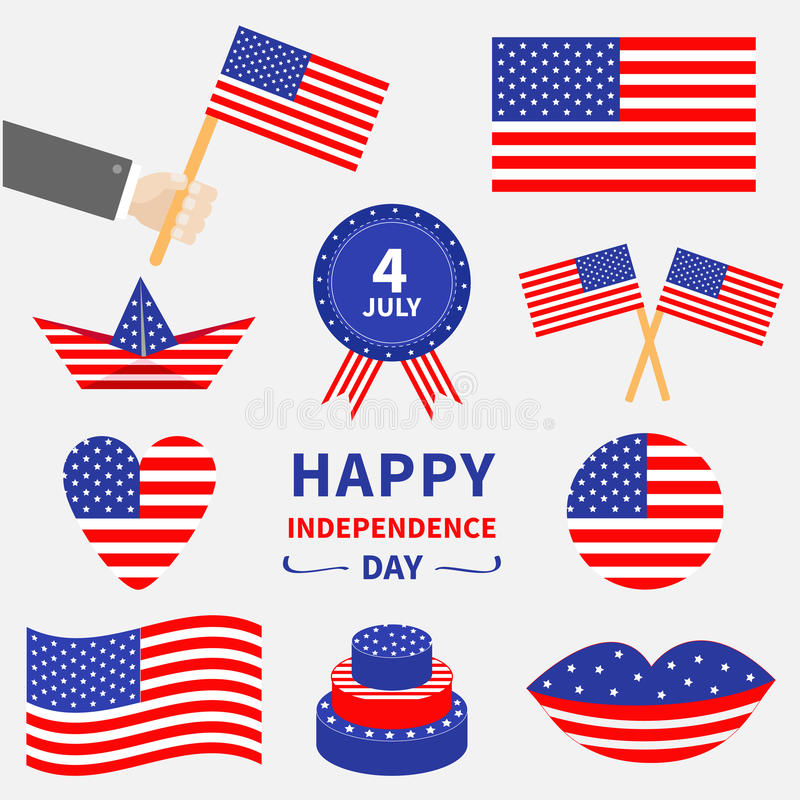 Happy independence day icon set. United states of America. 4th of July. Waving, crossed american flag, heart, round, cake, badge w stock illustration