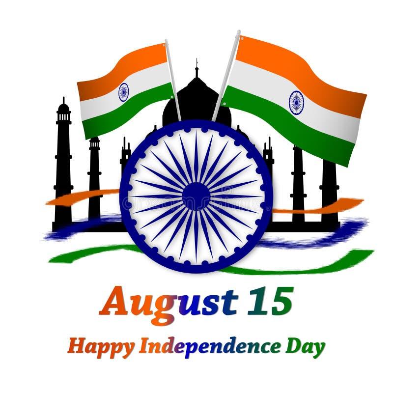 Happy independence day india. with ashok chakra and indian flag. taj mahal. vector illustration