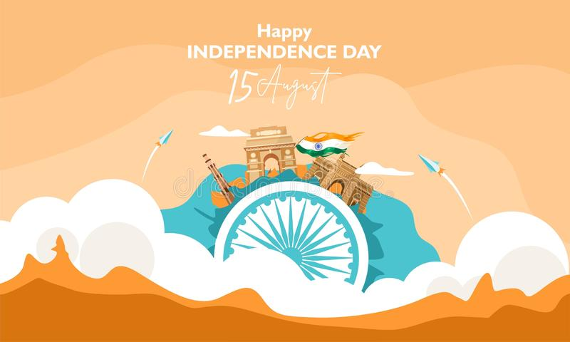 Happy independence day india. 15 august. The concept on the cloud . For flyer, poster, banner background design. With heritage bui royalty free illustration
