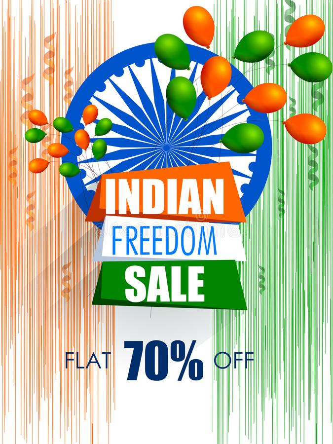 Happy Independence Day of India tricolor background for 15 August Big Freedom sale promotion banner vector illustration