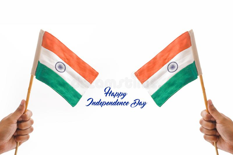 Happy independence day India , tricolor flag in hand over white background.  stock photos