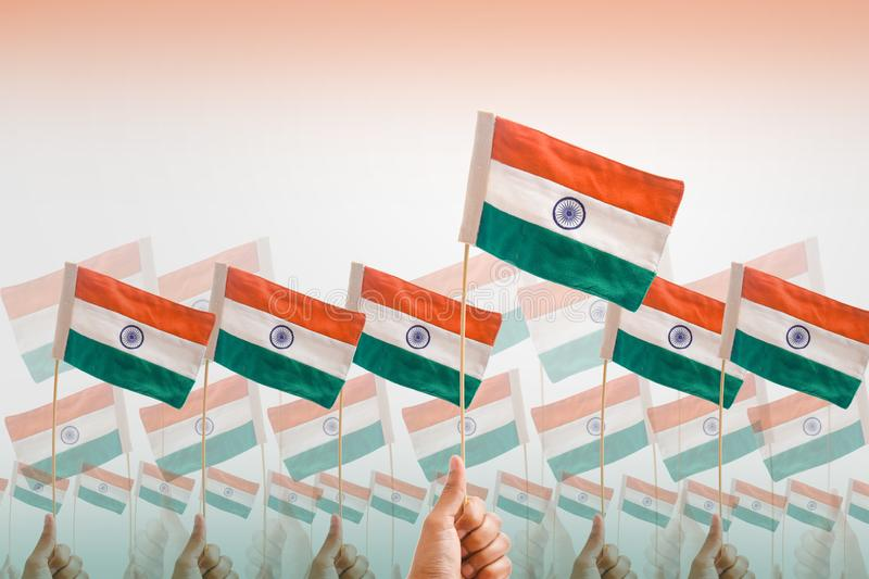 Happy independence day India , tricolor flag in hand over white background.  royalty free stock photos