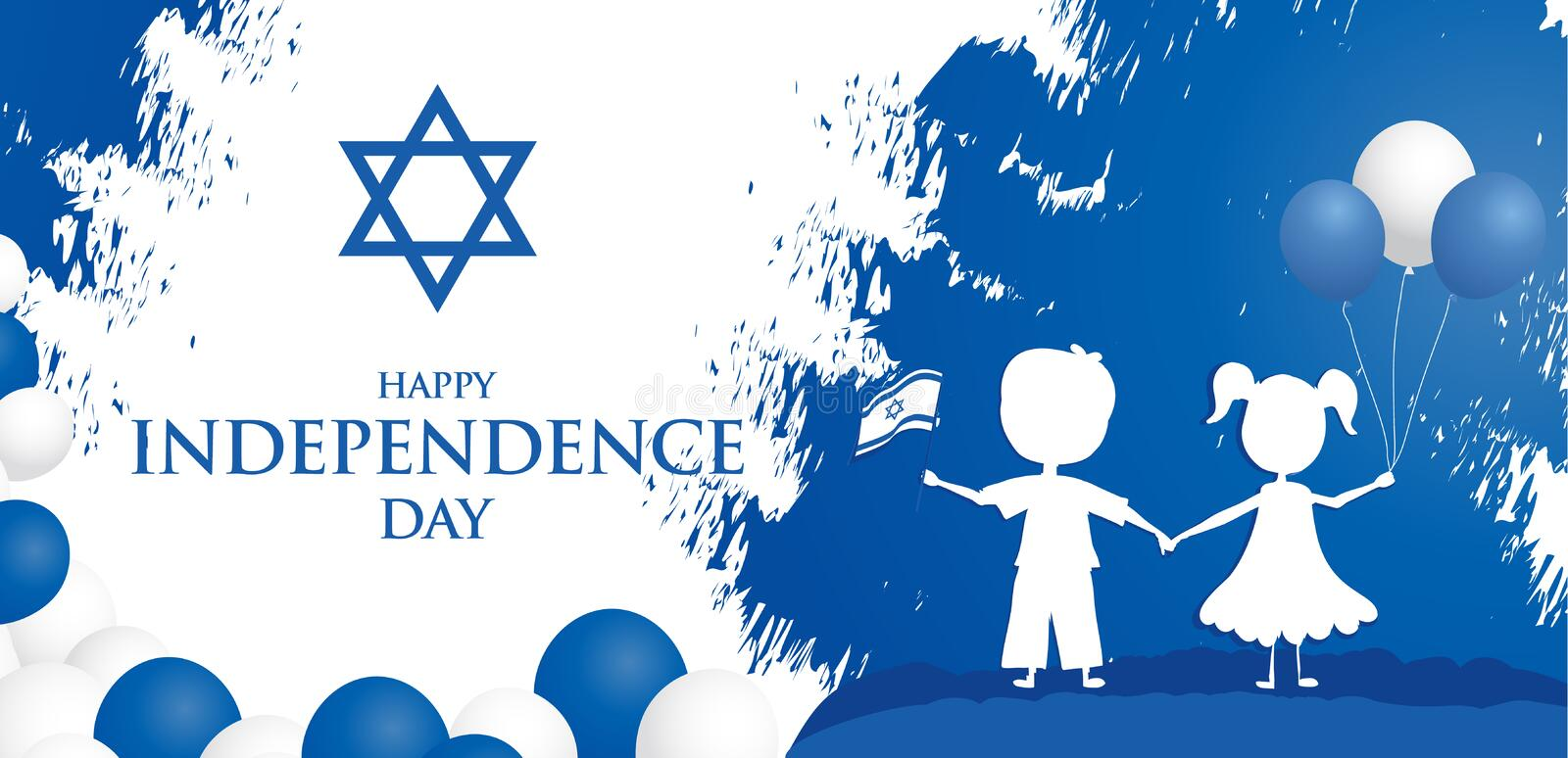 Happy independence day of Israel. Israel festive day on April 19.  vector illustration
