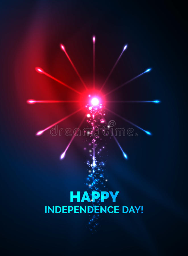 Happy Independence Day 4 july fireworks design. Glowing lights in the dark. Celebration sale poster stock illustration
