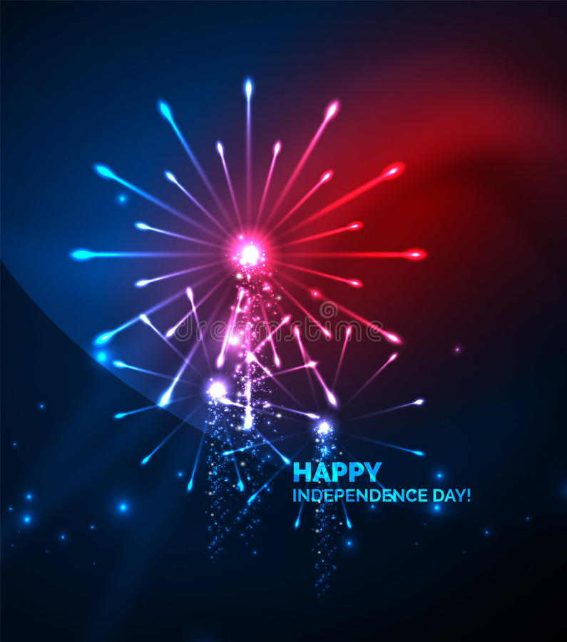 Happy Independence Day 4 july fireworks design. Glowing lights in the dark. Celebration sale poster vector illustration
