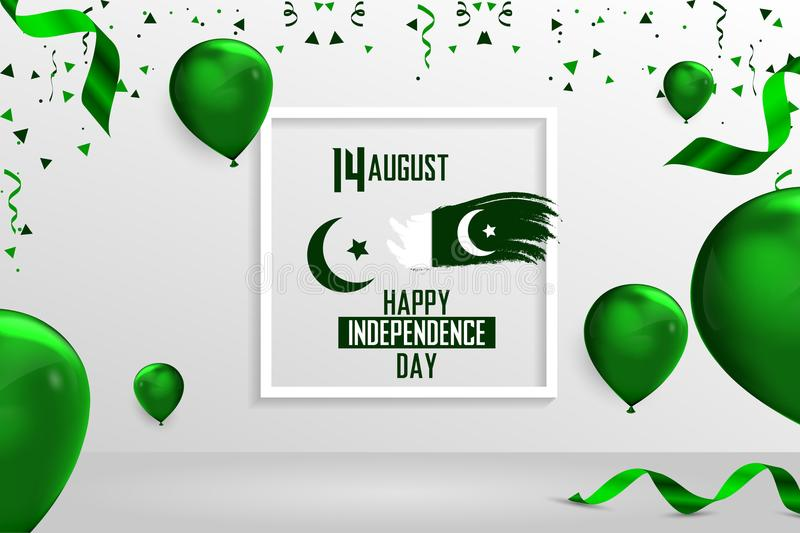 Happy Independence Day Pakistan, 14 August Pakistani Independence Day stock illustration